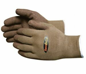 Horsepower Coated Gloves Rubber Latex Coating Brown Large Qty 144 Pairs 156657l