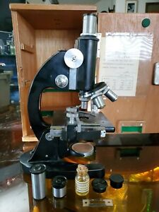 Vintage Bristol Scope Bristoline Microscope 8466 Science W Wood Storage Case