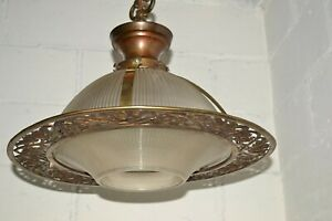 Big Antique Holophane Fancy Brass Ring Industrial Deco Ceiling Light Fixture