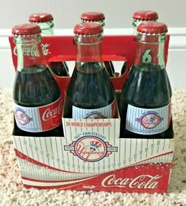 6 - NY Yankees 100th Anniversary Coca Cola Classic Glass Bottles 8 oz FULL NEW