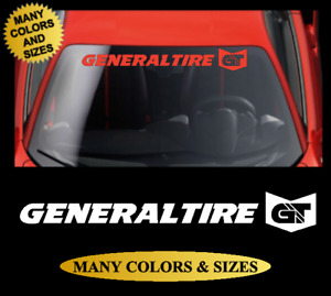 Windshield Banner Vinyl Decal Racing Sticker White Red Silver General Tire Gt