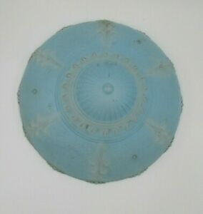 Vintage Glass Ceiling Light Shade Fixture 3 Hole Blue Satin Colored 11 25
