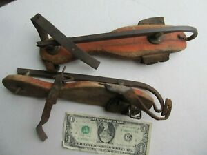 Great Red Painted Early 1820 Antique Wooden Ice Skates Antebellum Americana