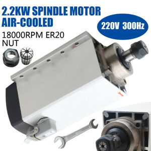2 2kw 2200w Air cooled Spindle Motor 220v Er20 18000pm 80 246mm Cnc Engraving
