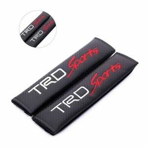 2pcs Carbon Fiber Car Seat Belt Shoulders Pad Truck Cover With Logo For Toyota