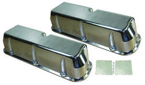Sb Ford Polished Aluminum Tall Smooth Valve Covers No Hole 289 302 351w Sbf