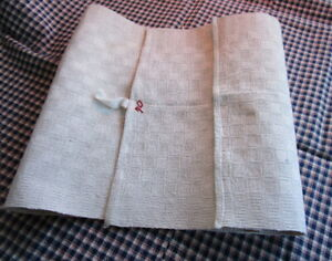 Antique Hand Made Homespun Linen Towel Woven Tiny Squares 39x12 Dated 1870