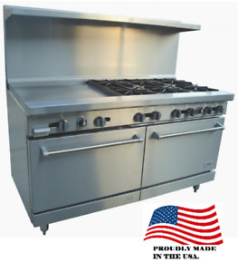 New 60 Lp Propane Range 8 Open Burner 12 Griddle Plancha Stratus Sr 8g12 7274