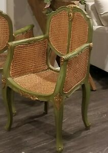 Antique Vintage French Louis Xv Carved Wood Cane Chair Teal Gold 2 Available