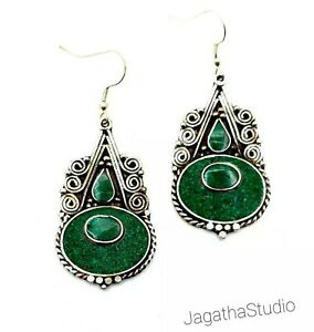 Ethnic Boho Earrings Nepal Tibet Vintage Beautiful Malachite Bohemian Style New