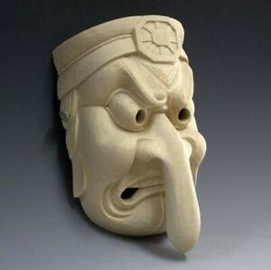 Japanese Noh Mask The Long Nose Down Tengu Ver Wooden Mask Hand Made Japan F S