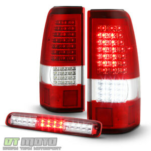 2003 2006 Chevy Silverado 1500 Red Full Led Tail Lights Led 3rd Brake Cargo Lamp