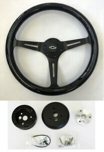 67 68 Chevelle El Camino Nova Black Wood On Black Steering Wheel 15 Bowtie Cap