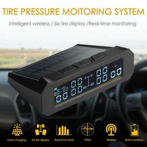 Solar Car Truck Tpms Lcd Tire Pressure Monitor Alarm System With 6 External Sen
