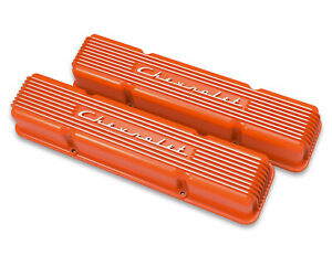Holley 241 109 Chevy Bowtie Finned Valve Covers Small Block Chevy V8 s