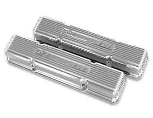 Holley 241 107 Chevy Bowtie Finned Valve Covers Small Block Chevy V8 S