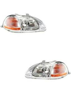 Headlights For Honda Civic 1996 1997 1998 2 Dr And 4 Dr Pair Left Right