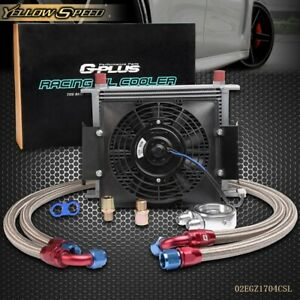 Universal 30 Row An10 Engine Transmission Oil Cooler Kit 7 Electric Fan