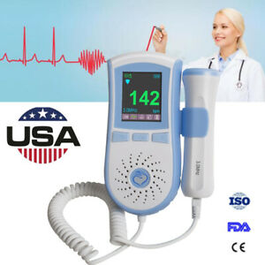 Color Lcd Pocket Fetal Doppler Prenatal Baby Heart Monitor 3mhz Probe Health Fhr