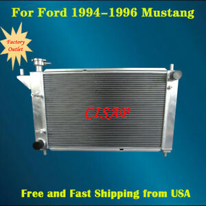 For Ford 1994 1995 1996 Mustang 3 8l 5 0l 3rows Aluminum Radiator Mt