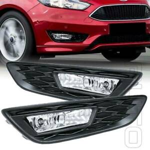 Fit 15 18 Ford Focus W Bezel Bulbs Replace Clear Lens Driving Fog Lights Kit New