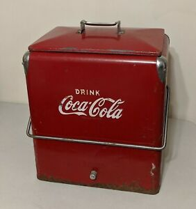 Vintage TempRite Mfg Drink Coke Coca-Cola Red Metal Cooler/Ice Chest w/ Tray
