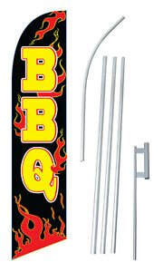 Bbq Banner Flag Sign Display Complete Kit Tall Business Advertising 2 5 Flames
