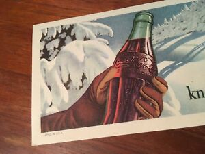 Coca Cola 1947 Coke Knows No Season Winter Scene Bottle Ink Blotter Mint Paper