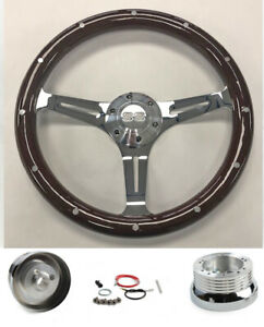 67 68 Chevelle El Camino Nova Dark Wood On Chrome Steering Wheel 14 Ss Cap