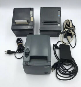 Lot Of 3 Direct Thermal Pos Receipt Printers W power Supplies Epson Ithaca