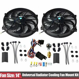 2pcs 14 Electric Cooling Radiator Fan 3 8 Probe Ground thermostat Switch Kit