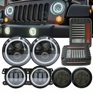 7 Led Headlight Fog Light Turn Signal Tail Combo Kit For Jeep Wrangler Jk 07 17