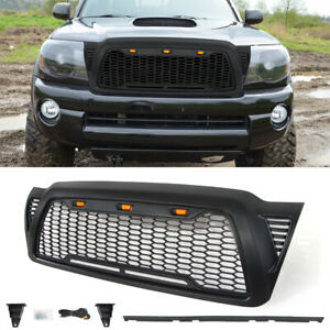 Front Grille For 2005 2011 Toyota Tacoma Honeycomb Hood Grill W 3 Led Lights