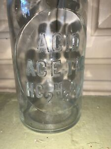 Antique Embossed Apothecary Glass Bottle Acid Ace Tic Hc2h3o2 T C W Co 7