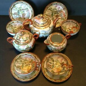 Nippon Kutani Geisha Tea Set Teapot Sugar Creamer 4 Cups Saucers Japan