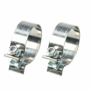 2pcs 1 75 1 3 4 Stainless Steel T409 Lap Joint Band Exhaust Clamp Powerful