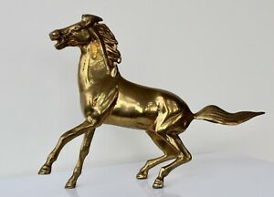 Brass Horse Figurine Sculpture Rearing Up Rear Free Standing Vintage Mid Century