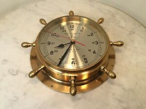 Bell Clock Co Quartz Ship Brass Glass Clock Usa