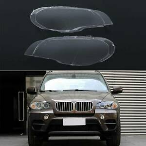 For Bmw X5 E70 2007 2013 Pair Left Right Headlight Cover Lamp Lens Lampshade