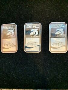 3 Pc lot Coca-Cola 75th Anniver.CHATTANOOGA  Bottling Contract 1oz Silver bars