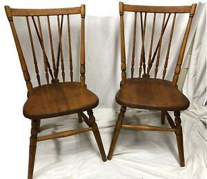 Stickley Brothers Grand Rapids Pair Of Fan Back Matching Wooden Chairs 17 Seat