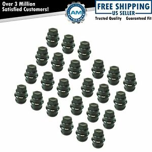 Wheel Lug Nut Cap Black Plastic Set Of 24 For Chevrolet Gmc Cadillac Truck New