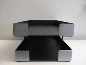 Vintage Knoll Smokador Brushed Steel Executive Desk Double Letter Paper Tray