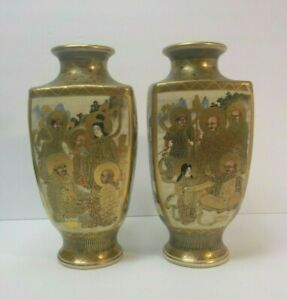 Pair 19th C Japanese Satsuma 9 5 Vases Meiji Period Signed