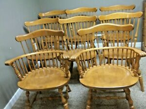 Set Of 8 Ethan Allen Maple Governor Bradford Windsor Dining Side Chairs 10 6102a
