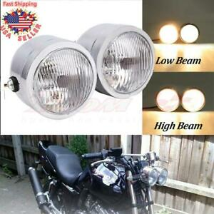 Motorcycle Dual 4 5 Twin Amber Front Head Lights Lamp For Harley Street Fighter