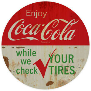 Enjoy Coca-Cola While We Check Your Tires Decal 24 x 24 Grunge Style Coke Decor