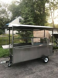 Open Food Cart With Steamer Trays Griddle And Fryer