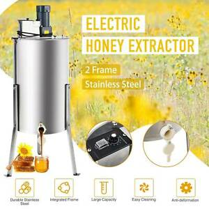 2 Frames Electric Honey Extractor Ss Beekeeping Equipment Spinner Drum W Stand