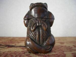 Antique Japanese Inro Sagemono Frog Wooden Kibori